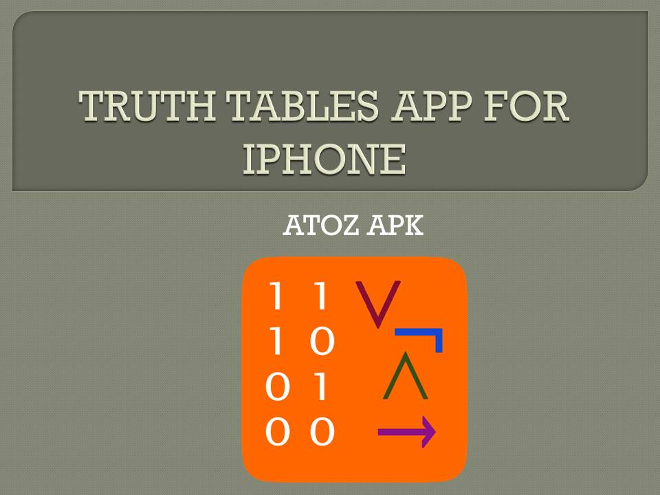 TRUTH TABLES APP FOR IPHONE